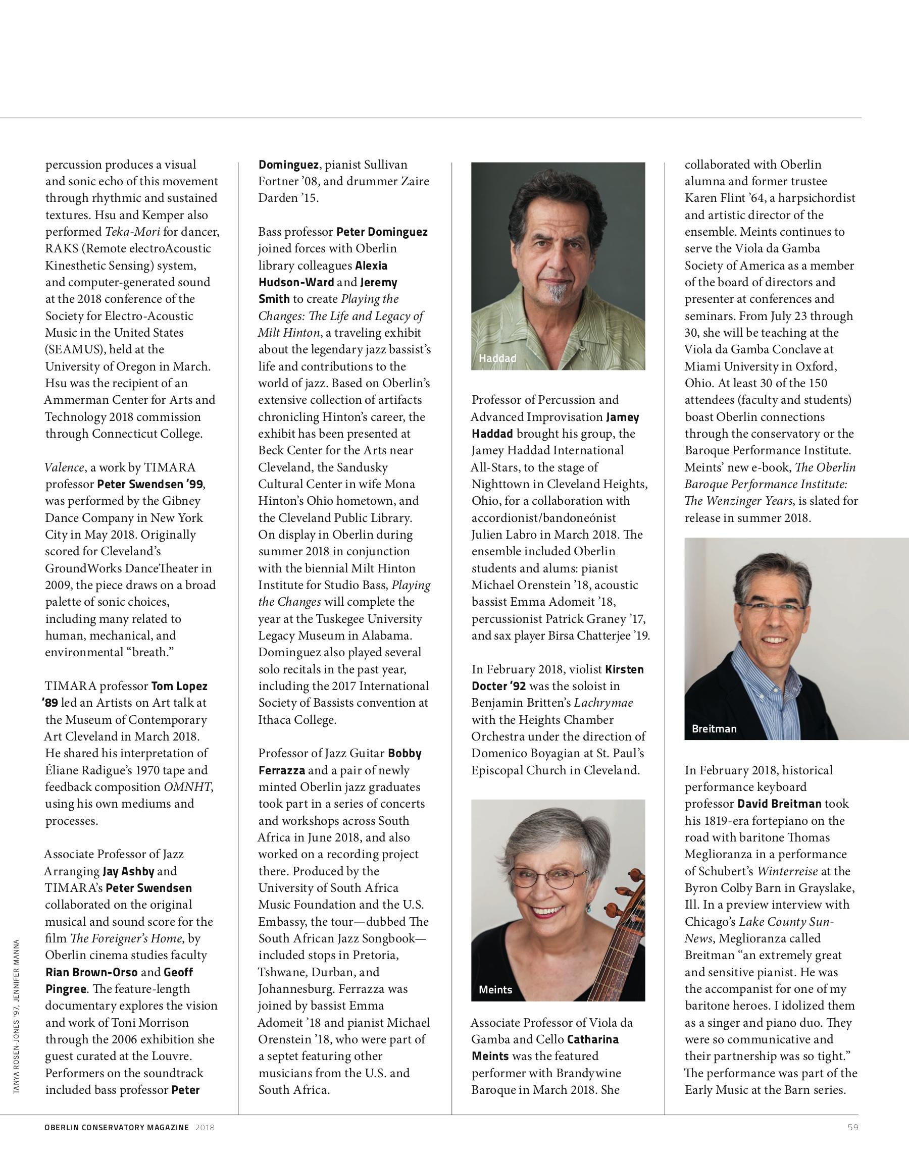 Oberlin Conservatory Magazine 2018