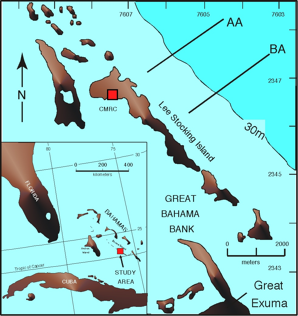 Ssetimaps two transects extend from the shelf at 15m out to the shelf edge 30m and down the steep slope into exuma sound to the northeast the red square marks the sciox Gallery