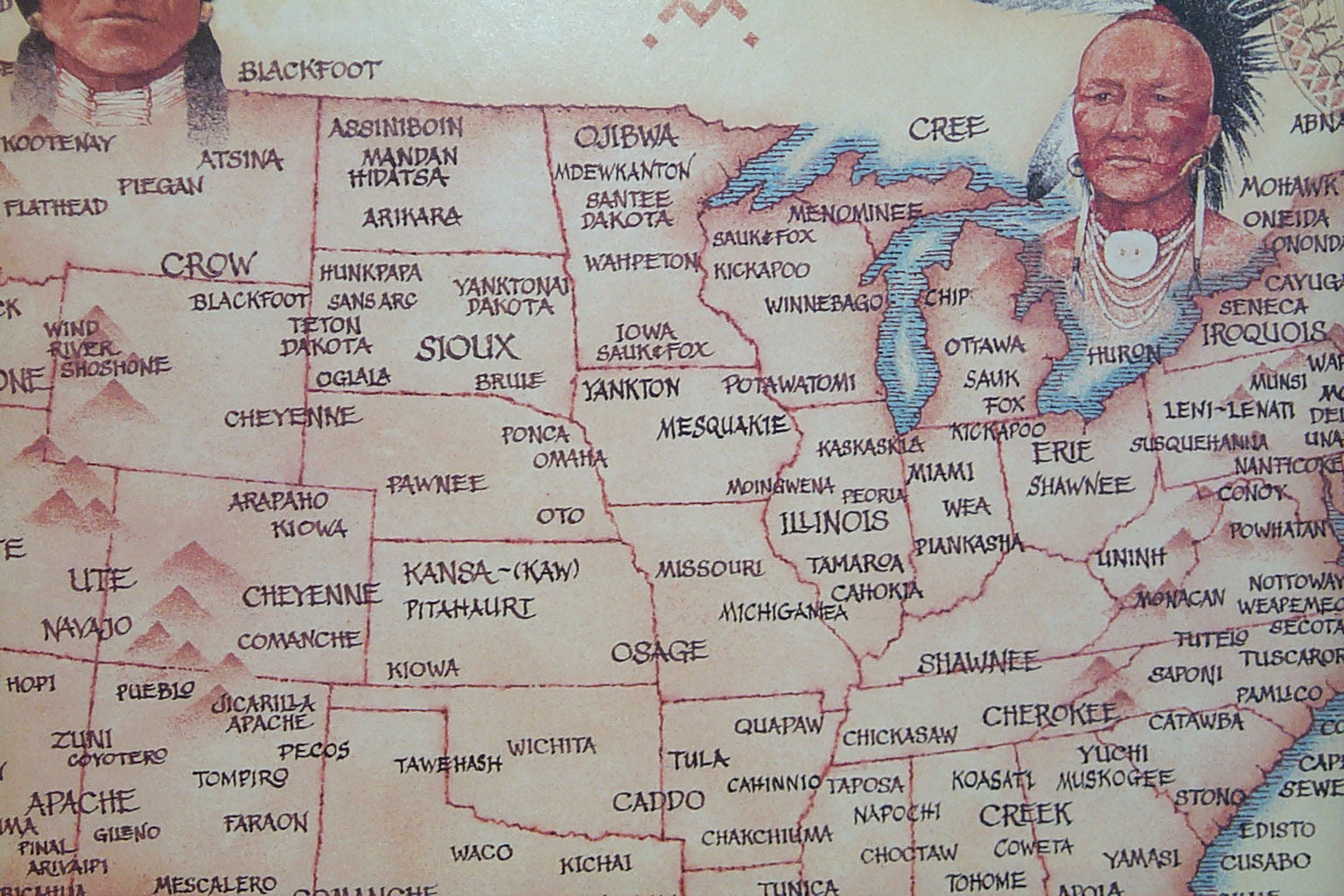 Native American Map North Central USA