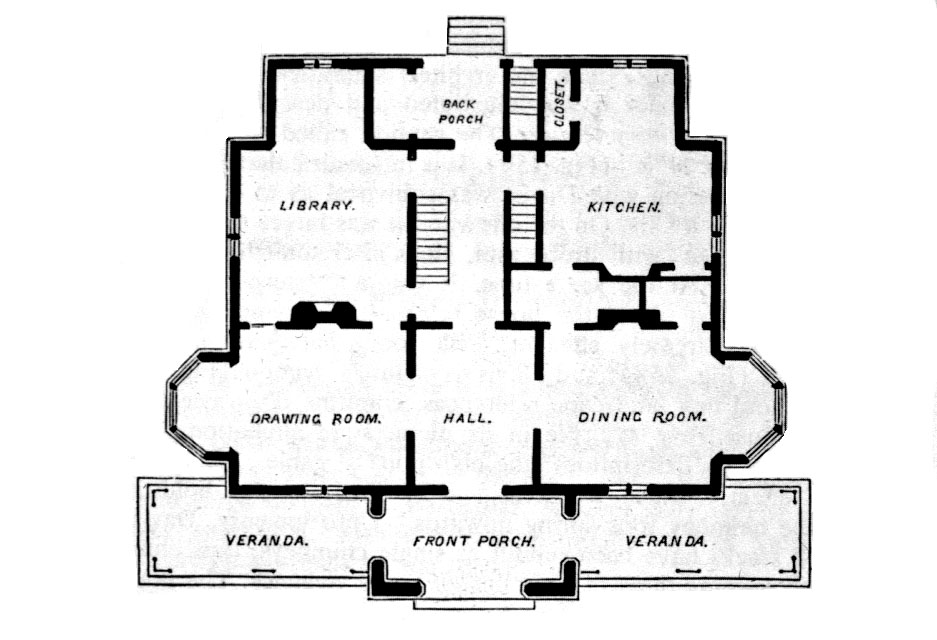 A J Davis Rotch House 1845 Plan New Bedford Ma 240 0015