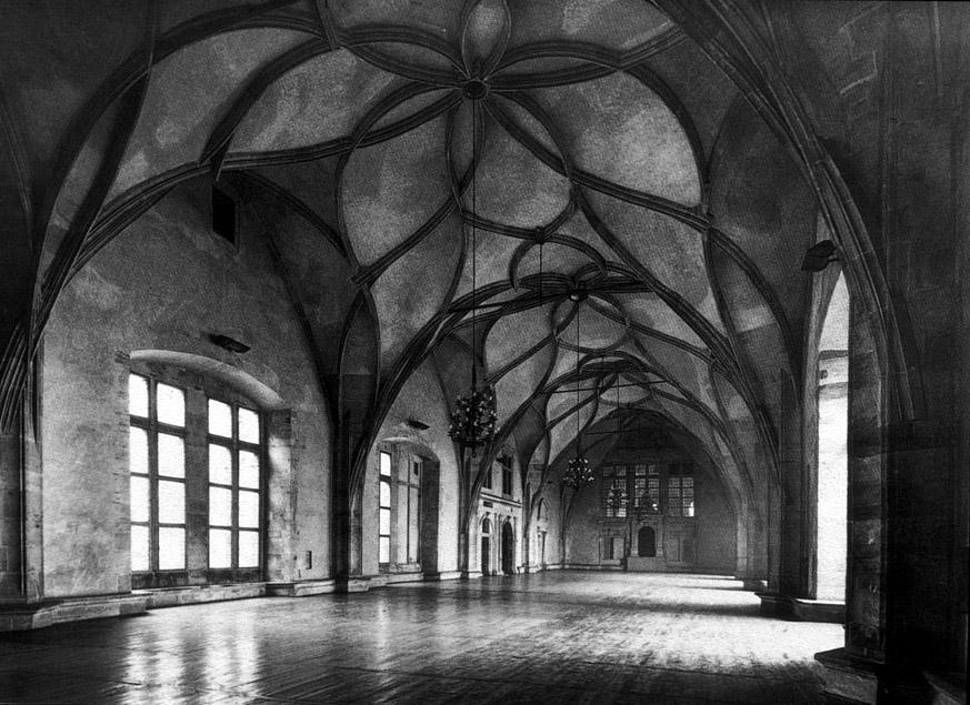 Prague Castle Vladislav Hall Interior View 13th C Czechoslovakia